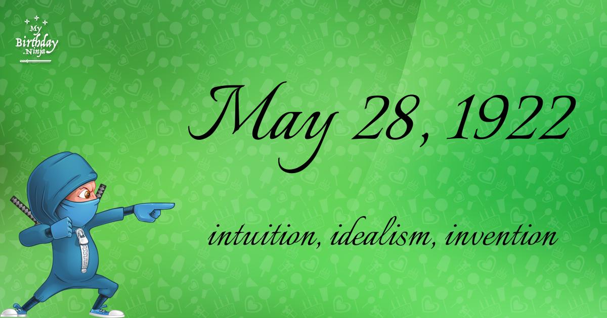 May 28, 1922 Birthday Ninja Poster