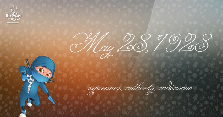 May 28, 1928 Birthday Ninja