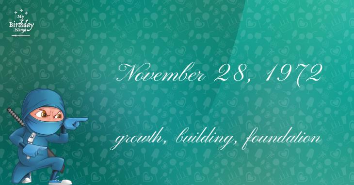 November 28, 1972 Birthday Ninja