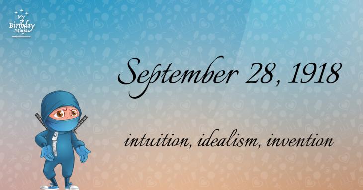 September 28, 1918 Birthday Ninja