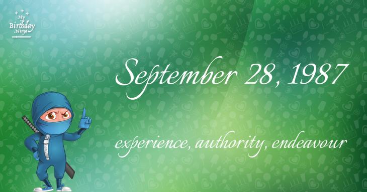 September 28, 1987 Birthday Ninja
