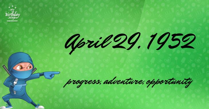 April 29, 1952 Birthday Ninja