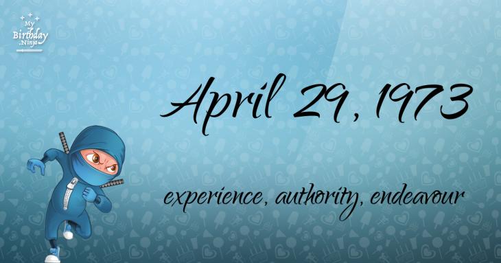 April 29, 1973 Birthday Ninja
