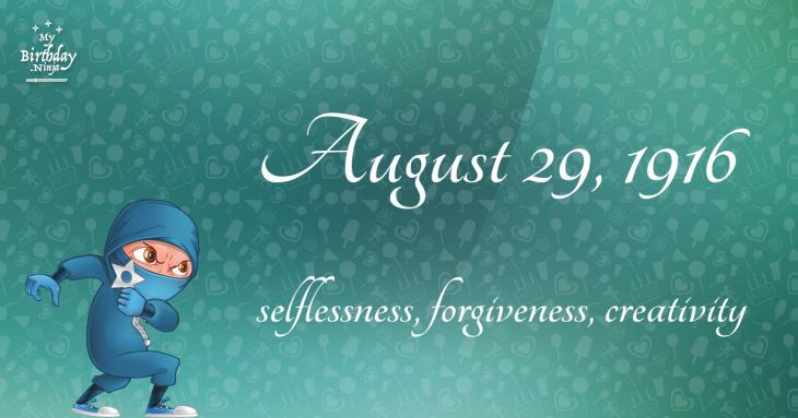 August 29, 1916 Birthday Ninja