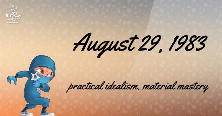 August 29, 1983 Birthday Ninja