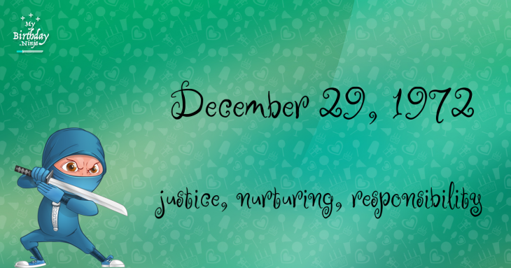 December 29, 1972 Birthday Ninja