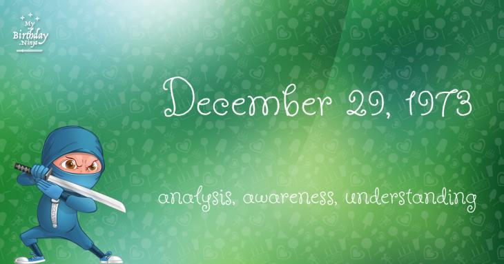 December 29, 1973 Birthday Ninja