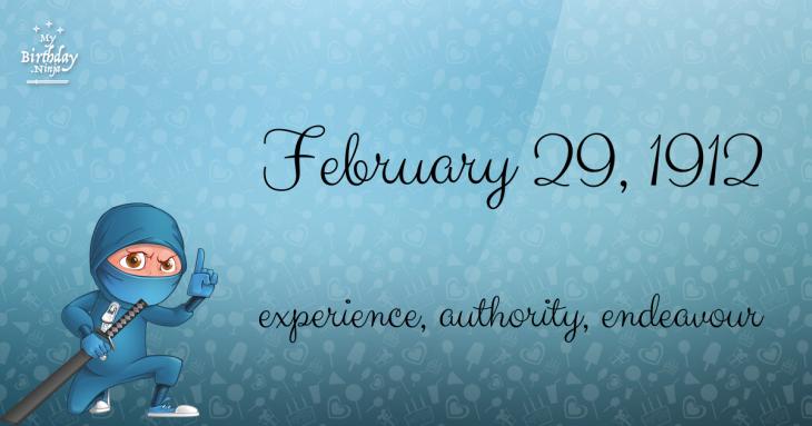 February 29, 1912 Birthday Ninja
