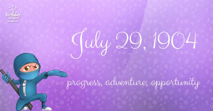 July 29, 1904 Birthday Ninja