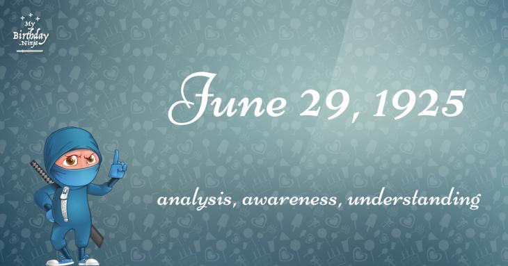 June 29, 1925 Birthday Ninja