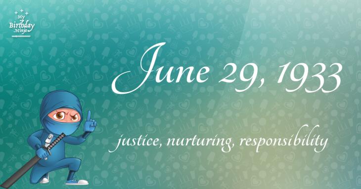 June 29, 1933 Birthday Ninja