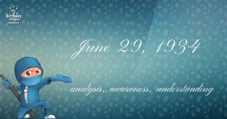 June 29, 1934 Birthday Ninja