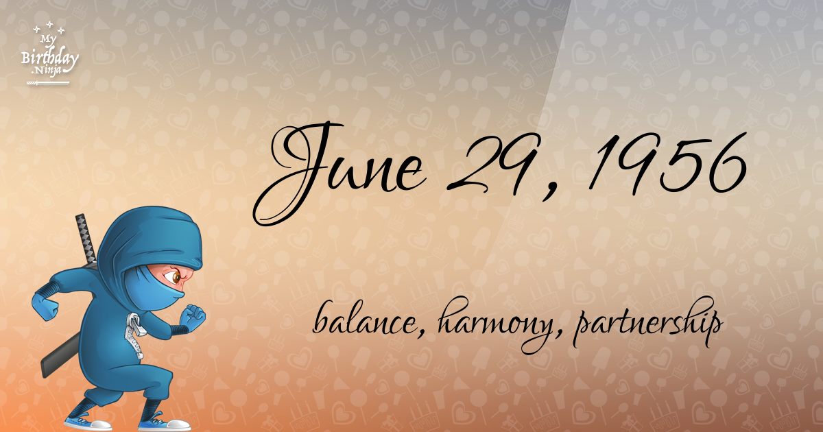 June 29, 1956 Birthday Ninja Poster