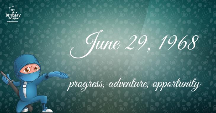 June 29, 1968 Birthday Ninja