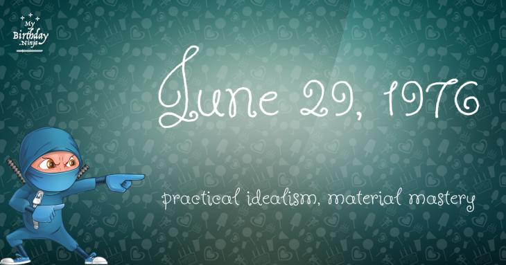 June 29, 1976 Birthday Ninja