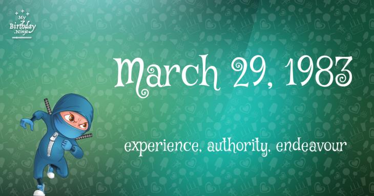 March 29, 1983 Birthday Ninja