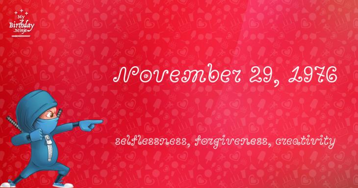 November 29, 1976 Birthday Ninja