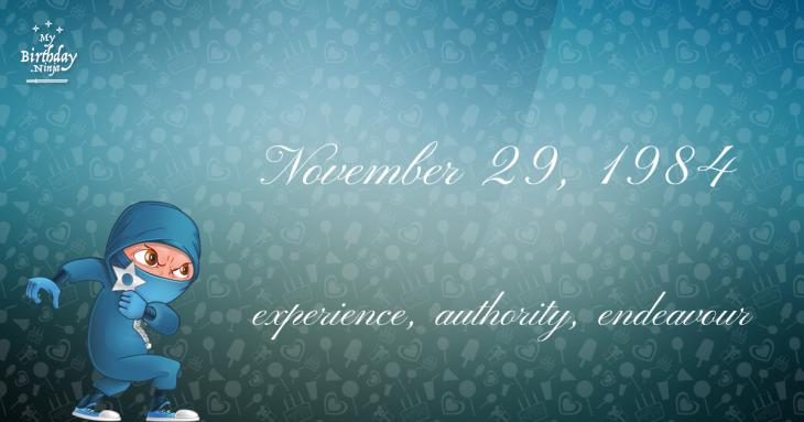 November 29, 1984 Birthday Ninja