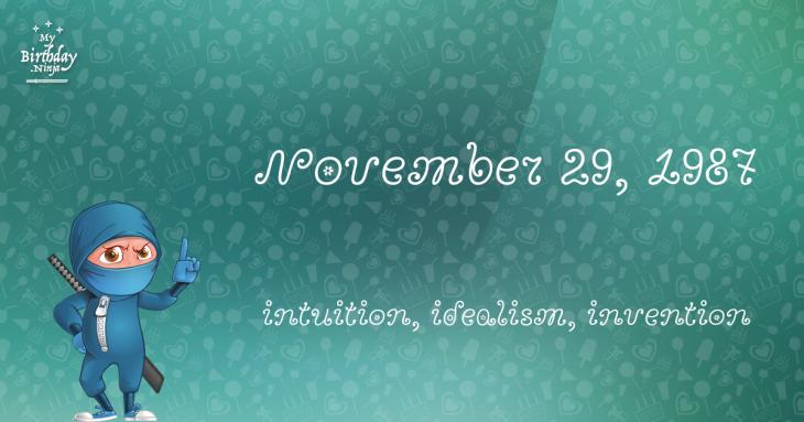 November 29, 1987 Birthday Ninja