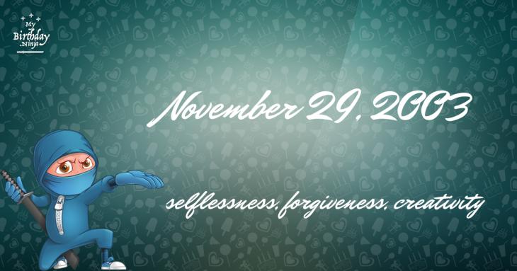 November 29, 2003 Birthday Ninja