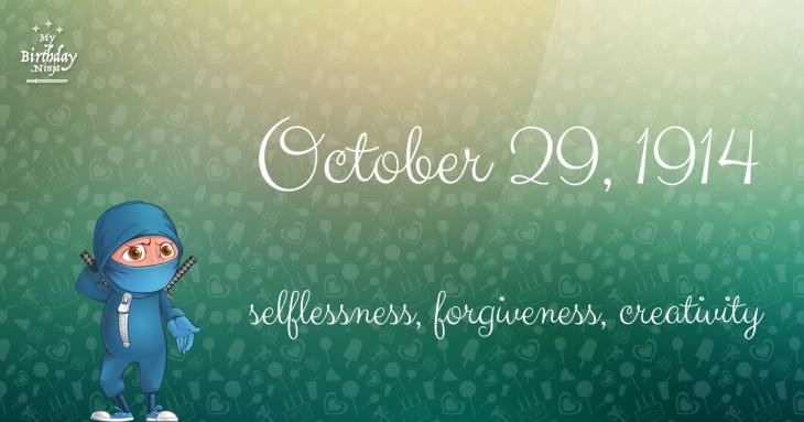 October 29, 1914 Birthday Ninja