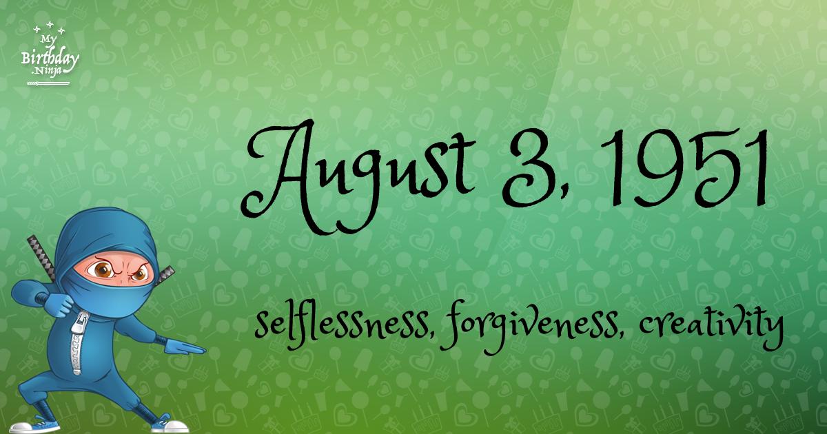 August 3, 1951 Birthday Ninja Poster