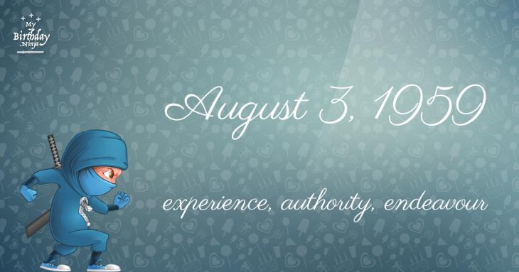 August 3, 1959 Birthday Ninja