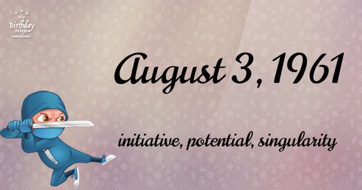 August 3, 1961 Birthday Ninja