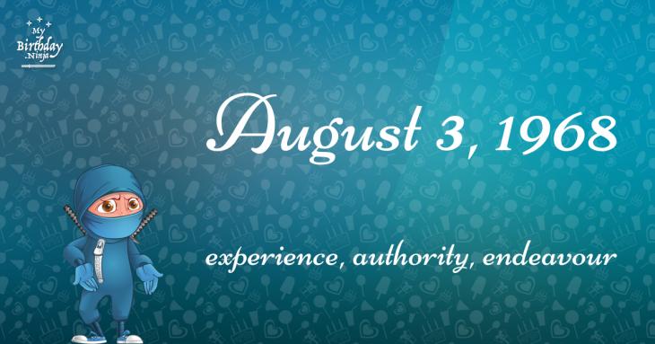 August 3, 1968 Birthday Ninja