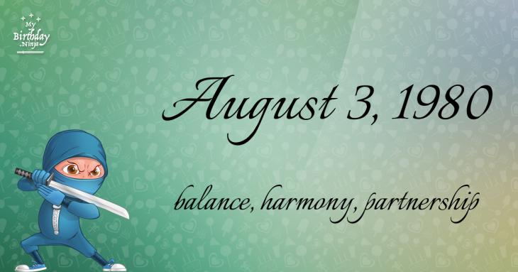 August 3, 1980 Birthday Ninja