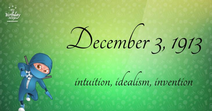 December 3, 1913 Birthday Ninja