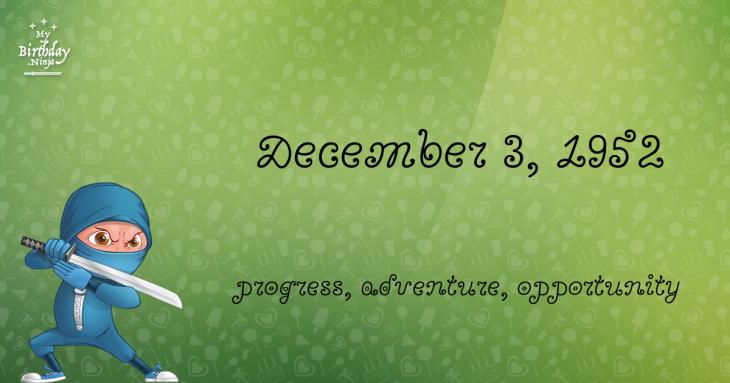 December 3, 1952 Birthday Ninja