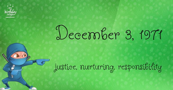 December 3, 1971 Birthday Ninja