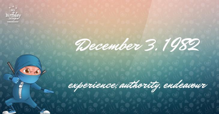 December 3, 1982 Birthday Ninja