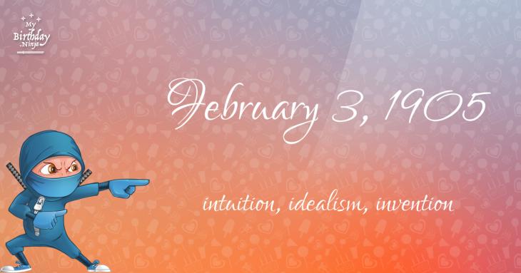 February 3, 1905 Birthday Ninja