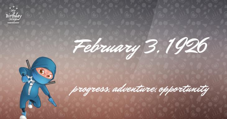 February 3, 1926 Birthday Ninja