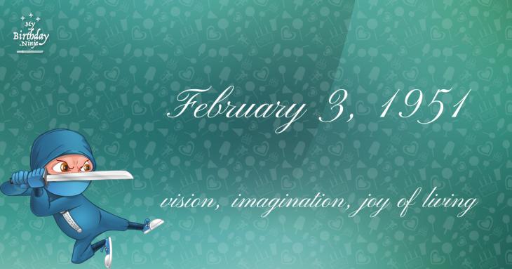 February 3, 1951 Birthday Ninja