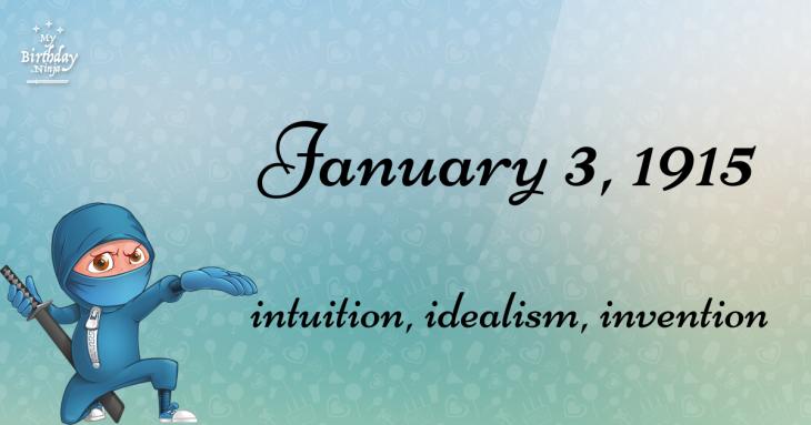 January 3, 1915 Birthday Ninja