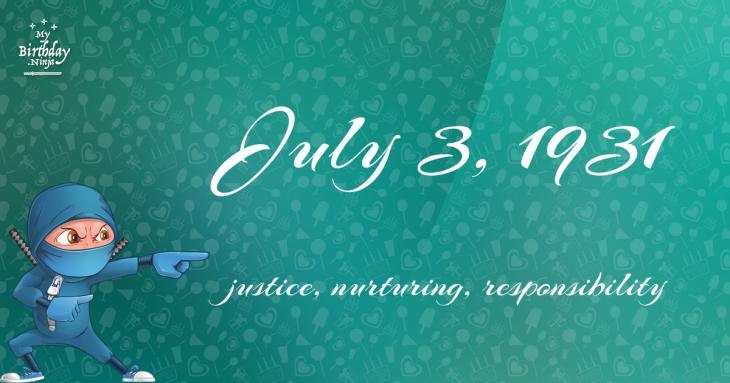July 3, 1931 Birthday Ninja
