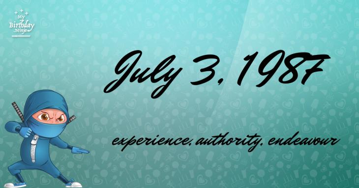 July 3, 1987 Birthday Ninja