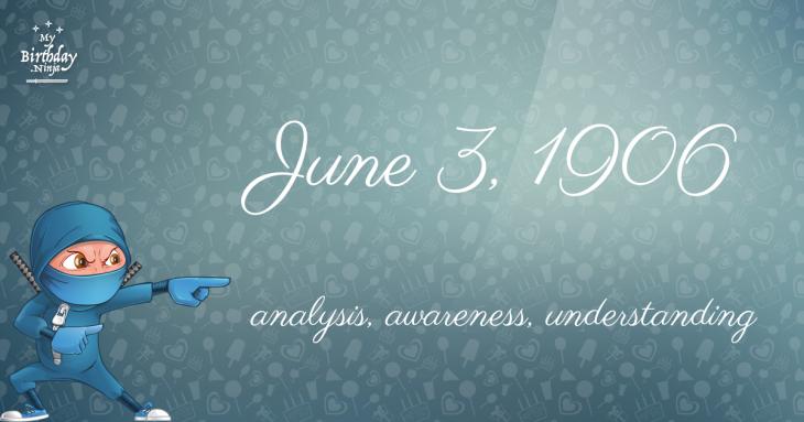 June 3, 1906 Birthday Ninja