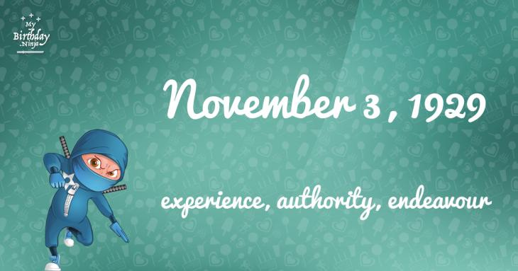November 3, 1929 Birthday Ninja