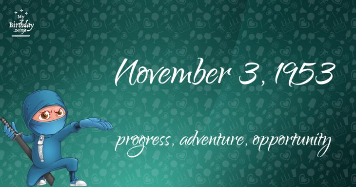 November 3, 1953 Birthday Ninja