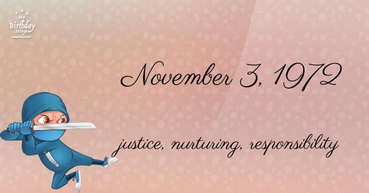 November 3, 1972 Birthday Ninja