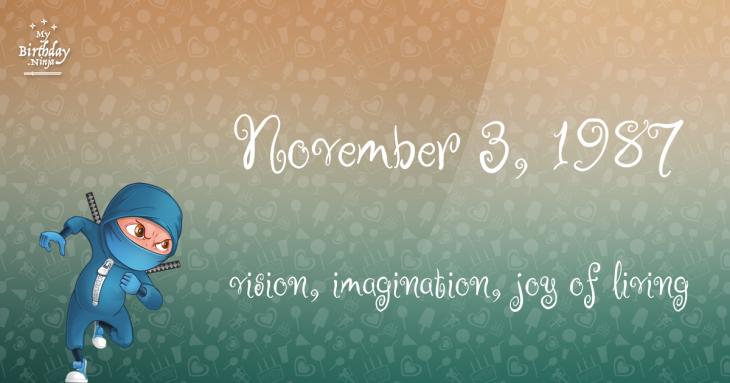 November 3, 1987 Birthday Ninja