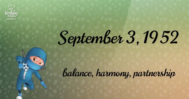 September 3, 1952 Birthday Ninja