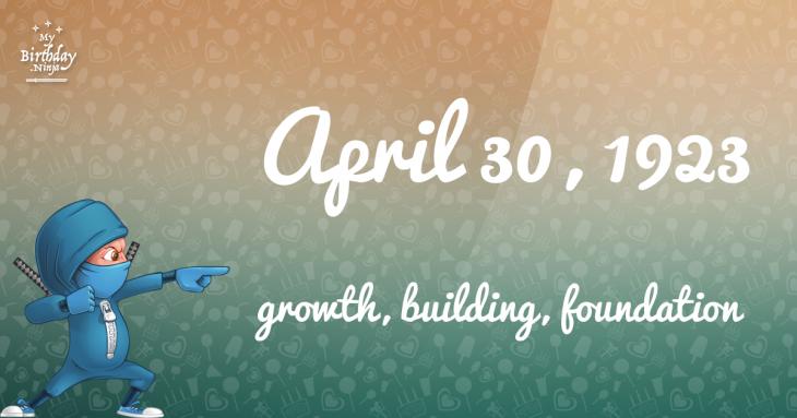 April 30, 1923 Birthday Ninja