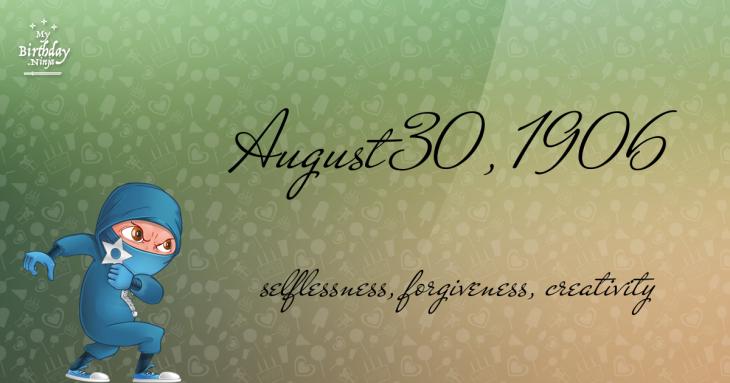 August 30, 1906 Birthday Ninja