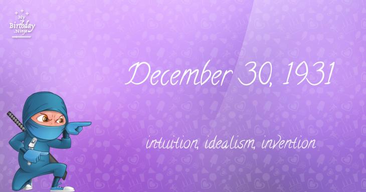 December 30, 1931 Birthday Ninja