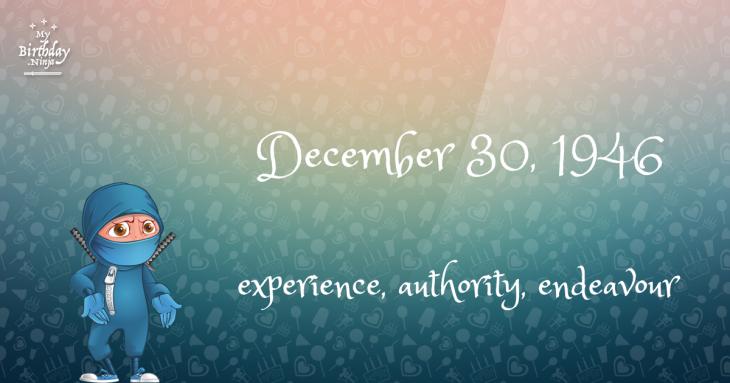 December 30, 1946 Birthday Ninja